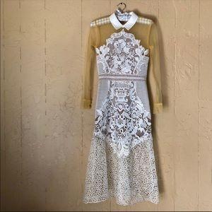 White Lace Mix Shirt Dress
